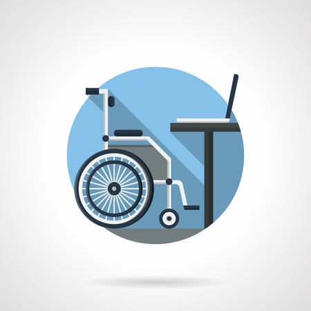 side job: Side view of wheelchair and table with laptop. Workplace for disabilities. Distance education and job concept. Round detailed flat color vector icon. Web design element for business, site, mobile app.