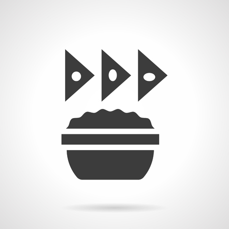 chips and salsa: Monochrome silhouette of bowl with sauce and triangle cheese chips. Appetizer menu with nachos. Mexican food. Symbolic black glyph style vector icon. Illustration