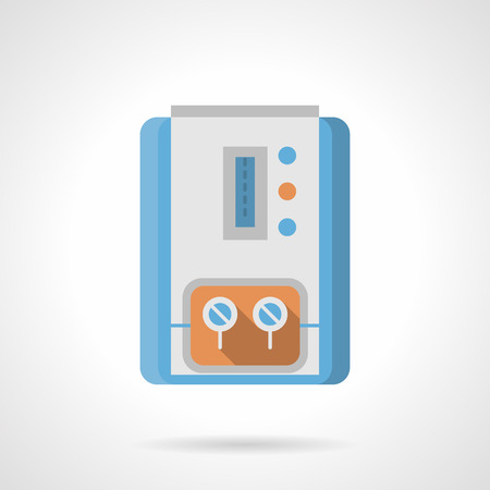 climatic: Gas column for water boiling with scale, indicators and two switches. Household equipment and appliances for heating system. Climatic technics. Flat color style vector icon.
