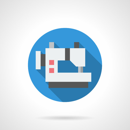 atelier: Sewing machine symbol. Electrical equipment for tailoring atelier. Commercial manufacturing and services, repair of garments. Round flat color style vector icon. Illustration