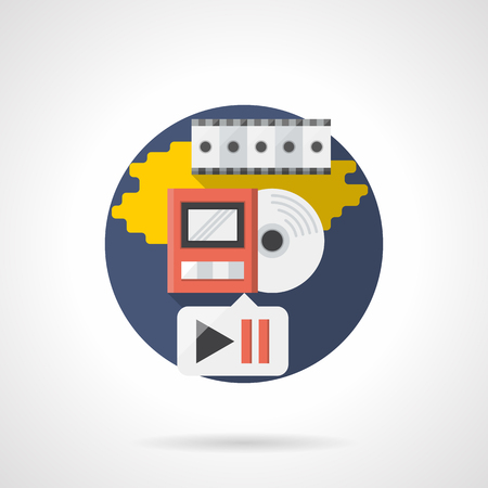 playback: Video and music playback elements. Digital movie player, service multimedia application, media archive. Disc, player and film strip. Round detailed flat color style vector icon. Web design elements.