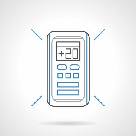 climatic: Remote control panel for air-conditioner. Regulation of air temperature at 20 degrees. Modern climatic technics. Flat black and blue line vector icon. Illustration