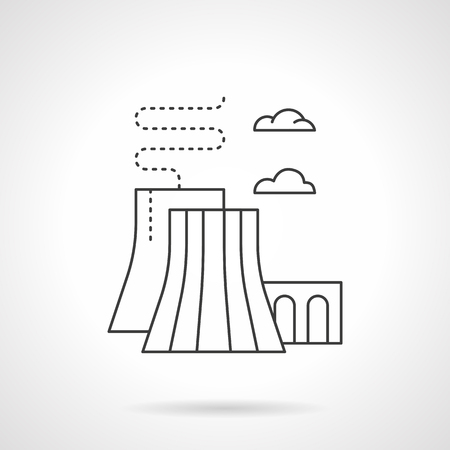 fossil fuels: Industrial plants and factory. Thermal power station. Generation of electricity by converting heat released during combustion of fossil fuels. Flat line style vector icon. Illustration