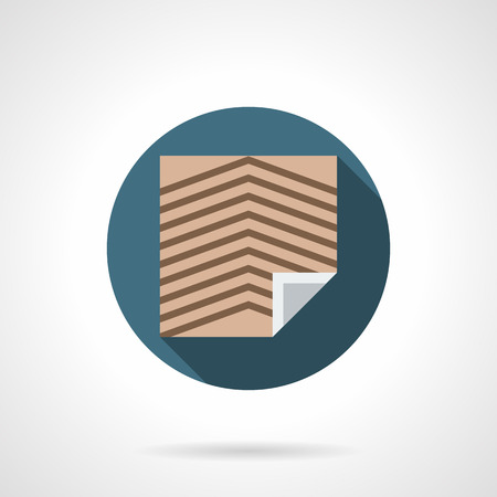 floor covering: Brown linoleum sheet with slanting stripes. Floor covering for office and other commercial spaces. Construction and renovation services. Round flat color style vector icon.