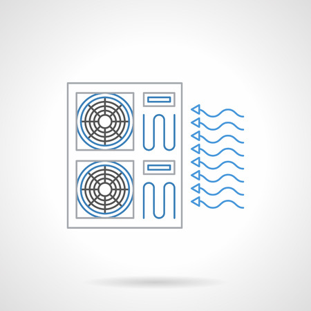 installation: Blowing air conditioner system. Climate appliances and equipment. Installation and repair services for air conditioners and ventilation. Flat black and blue line vector icon.