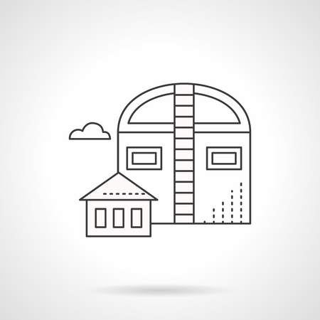 grain storage: Industrial facilities and building. Barns symbol. Agricultural objects, storages for grain and harvest. Flat line style vector icon.