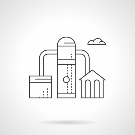 industrial complex: Fuel factory. Industrial objects and facilities. Fuel and energy complex, oil processing. Environment pollution concept. Flat line style vector icon.