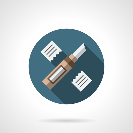 floor covering: Construction knife and two sliced pieces of material. Renovation services, floor covering repair works. Round flat color style vector icon.