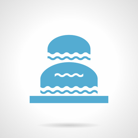 water flowing: Double fountain with water flowing. Classic decoration for landscaping of parks and gardens, city public places. Symbolic blue glyph style vector icon. Illustration