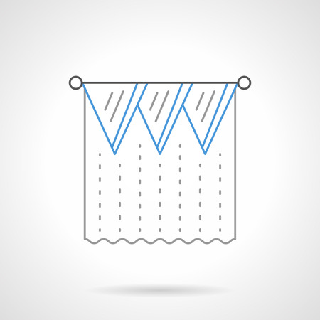 window curtain: Blue drape blinds or lambrequin. Window decoration curtain tulle and blinds. Textile elements for interior design. Flat line style vector icon. Illustration