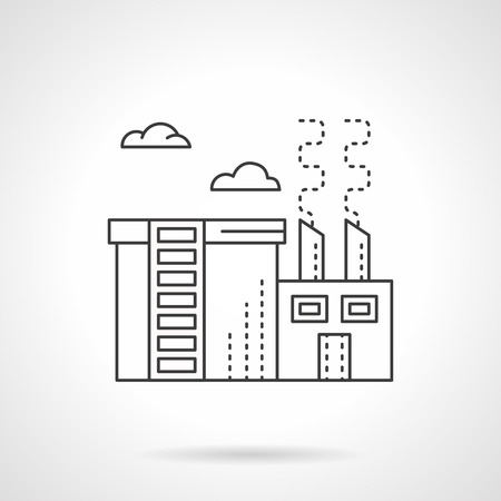 chemical plant: Chemical plant or factory with store department. Chemical processing industry. Environment pollution problems. Flat line style vector icon.