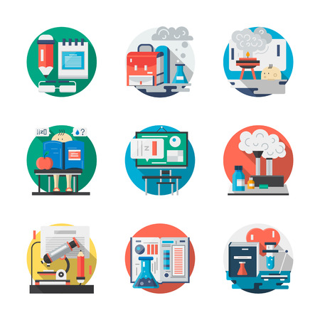 fundamental: Chemistry lessons, classroom and school laboratory. Education theme. Applied and fundamental sciences. Round detailed flat color vector icons set. Web design elements for business, site, mobile app.