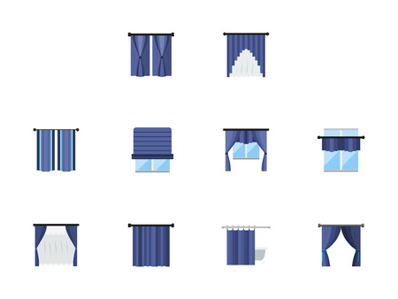 window treatments: Collection of blue color various window treatments curtains, drapes, shades, blinds. Textile design for home, office, hotel or restaurant interior. Set of flat style vector icons. Illustration