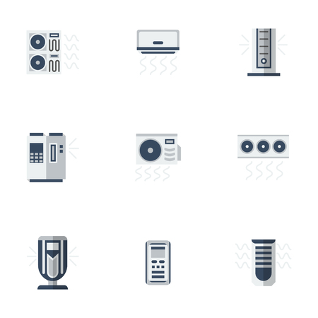 purification: Different cooling equipment for house, office, hotels. Air conditioning and purification, ionizers. Remote control appliances. Set of colored flat style vector icons.