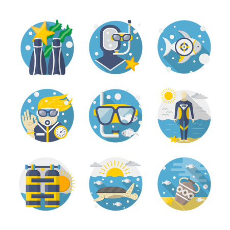 treasure hunt: Summer vacations. Sea leisure moments - snorkeling and diving, underwater life research, treasure hunt. Round detailed flat color vector icons set. Web design elements for business, site, mobile app. Illustration