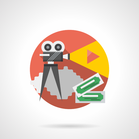cinematograph: Retro movie projector with yellow spotlight and red play button, two movie tickets. Cinema production, premiere presentation. Round detailed flat color style vector icon. Illustration