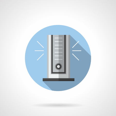 climatic: Vertical portable air cooler with ionizer. Modern air conditioning technology. Mobile appliances for room. Climatic equipment. Round flat color style vector icon. Illustration