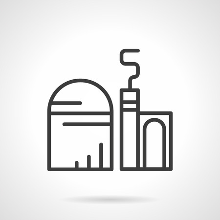 storage facility: Cereal or grain processing factory. Storage facility, farm grain silo. Industrial and agriculture buildings. Simple black line style icons.