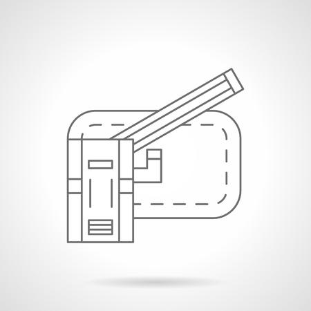 traffic control: Modern automatic barrier. Gates entrance to apartment complex, parking or construction. Traffic control equipment. Flat line style vector icon. Illustration