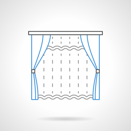 window shades: Transparent curtain and blue classic blinds with tassels. Shades, drapes, curtains and other textile decor for window. Flat line style vector icon.