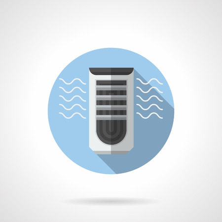 pure element: Evaporative air cooler with ionizer element. Air conditioning equipment. Electrical appliance blowing cold and pure air. Round flat color style vector icon.