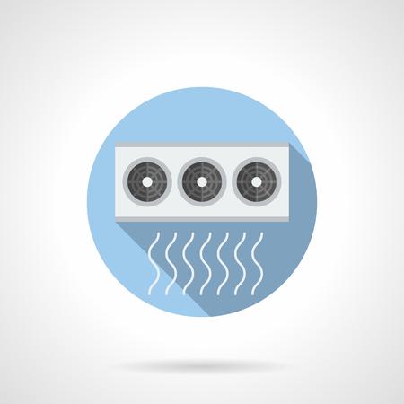 Klimakompressor. Außenanlageneinheit mit drei Ventilatoren. Industrie- und Haushaltsgeräte. Round flat Farbe Stil Vektor-Symbol. Vektorgrafik