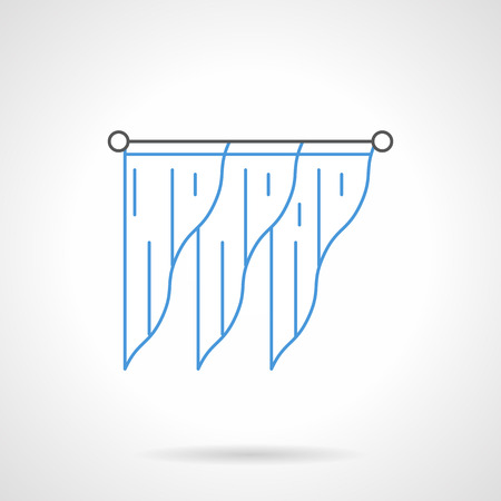 drapes: Stylish interior design with triangle shaped blue curtains or lambrequin on black cornice bar. Modern drapes for interior design. Flat line style vector icon. Illustration