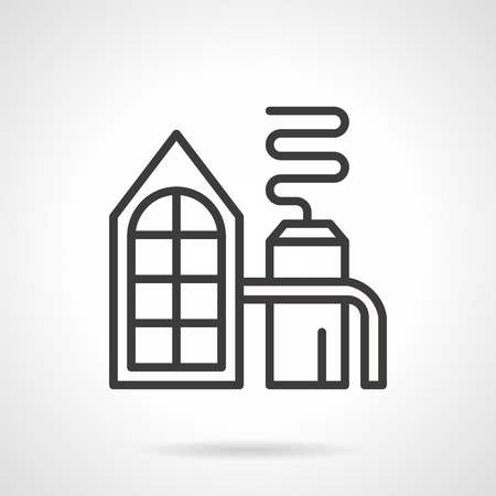 distilling: Distilling plant facility. Distillation process on an industrial scale. Industry buildings and objects, environment pollution problems. Simple black line style icon.