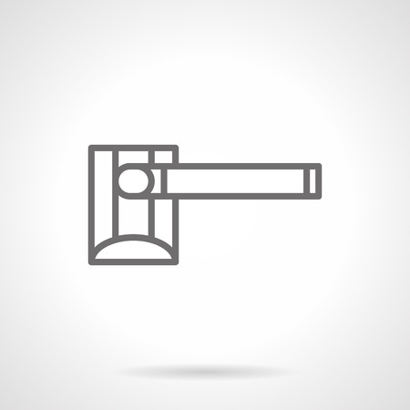 barrier gate: Automatic system for control of pass and entry. Closed automatic barrier sign. Gate barrier on road restriction. Simple gray line style icon. Illustration