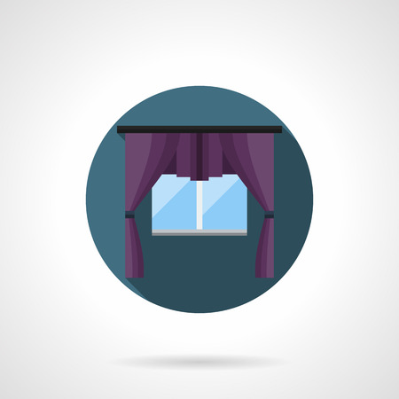 drapes: Glass window with luxury purple curtains. Textile elements of interior design treatment. Vintage style drapes, blinds, shade. Round flat color vector icon. Illustration
