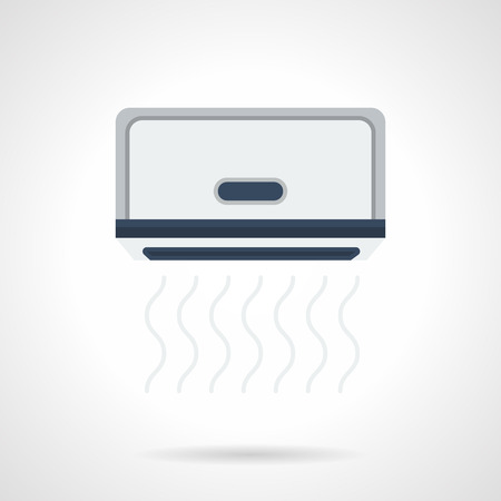 climatic: Blowing gray air conditioner. Climatic equipment for office, home and store. Electrical appliances installing service. Flat color style vector icon.