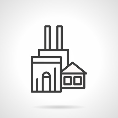 industrial complex: Abstract woodworking factory symbol. Industrial facilities and buildings complex. Wood production and processing. Simple black line style icon. Illustration
