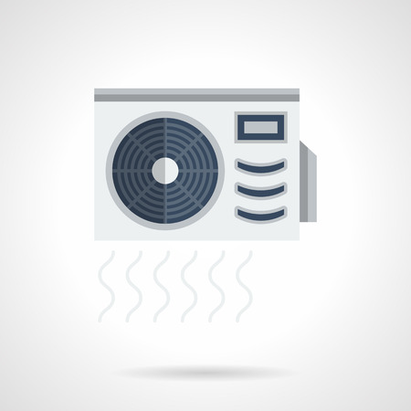 climatic: Air conditioner with compressor ventilator. Air flow sign. Climatic appliances for home and office. Outdoor unit of split system. Flat color style vector icon.