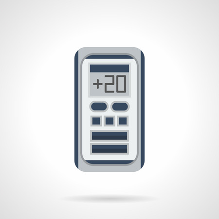 climatic: Remote control for air-condition system. Electronic temperature regulation. Modern climatic appliances and equipment for home and office. Flat color style vector icon. Illustration