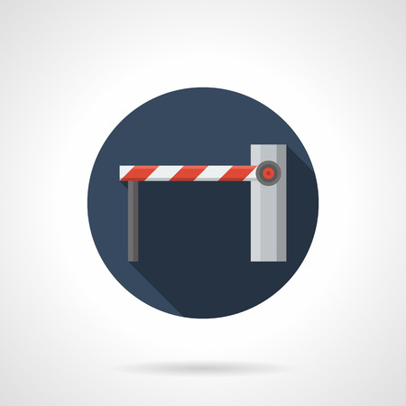 access control: Modern automatic access control barriers and gates. Equipment for checkpoints, private parking or shopping. Round flat color style vector icon.