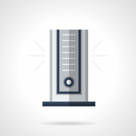 climatic: Portable column air conditioner for room. Modern climatic appliances, household and office equipment. Flat color style vector icon.