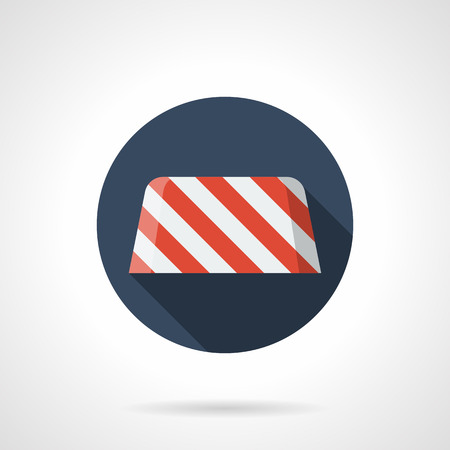 blockade: Red and white striped concrete road barrier. Border to prohibiting the entry at roadwork, construction site. Round flat color style vector icon. Illustration