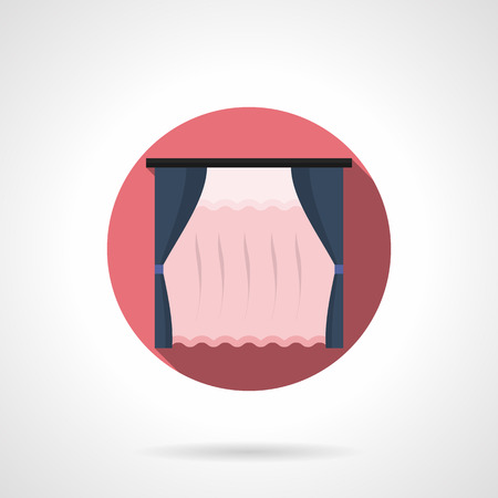 country kitchen: Dark blue blinds and pink transparent tulle curtains. Textile elements for home decor, window decoration. Classic vintage style. Round flat color style vector icon. Illustration