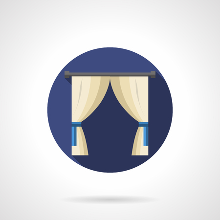 home entertainment: Classic or vintage window decor with white curtains with blue tiebacks. Stylish luxury interior for hotel, home, public entertainment places. Round flat color style vector icon.