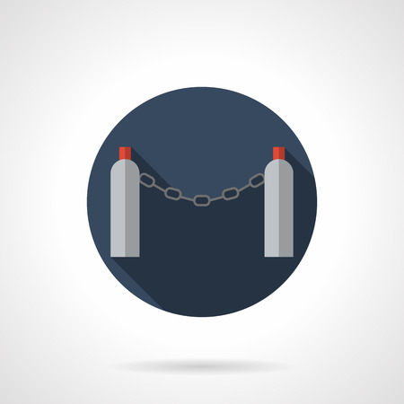 chain link fence: Metal chain barrier for decorative and fencing purpose, security and temporary traffic prohibition. Automatic chain link fence. Round flat color style vector icon.