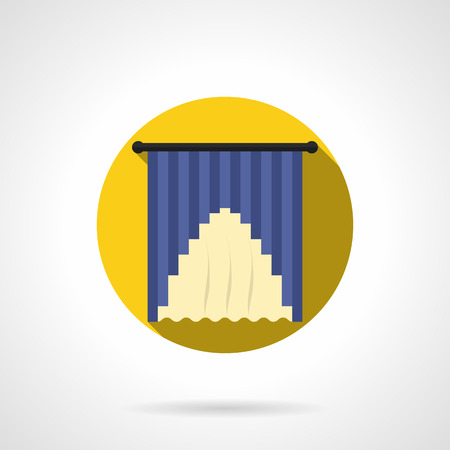 drapes: Blue and yellow hanging drapes. Curtains decoration for home, hotel, restaurant or other public places interior. Round flat color style vector icon. Illustration