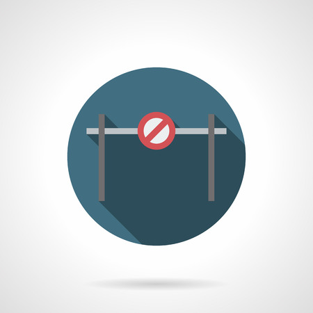 traffic barricade: Horizontal bar barrier with forbidden sign. Road block, barricade and other objects for traffic control or prohibition. Round flat color style vector icon.