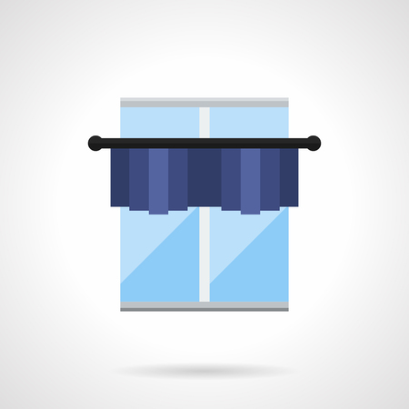 drapes: Classic window with blue short curtain or pelmet on cornice. Drapes, shades, lambrequins and other element of textile decoration. Flat color style vector icon. Illustration