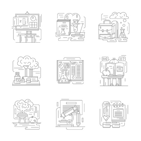 educational research: Chemistry science at school. Classroom, learning, laboratory workspace and chemical equipment. Educational research concept. Set of detailed flat line vector icons. Web design elements.