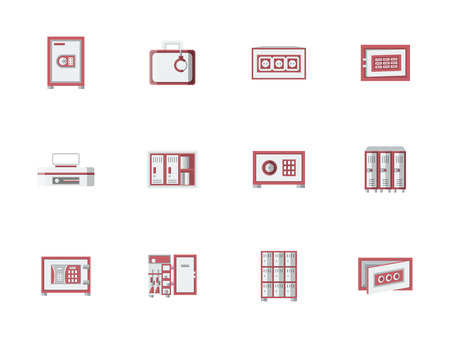 public safety: Metallic cabinets, lockers and safes with red elements. Storage equipment for office, public places, banking objects. Things safety guarantee. Set of colored flat style vector icons.