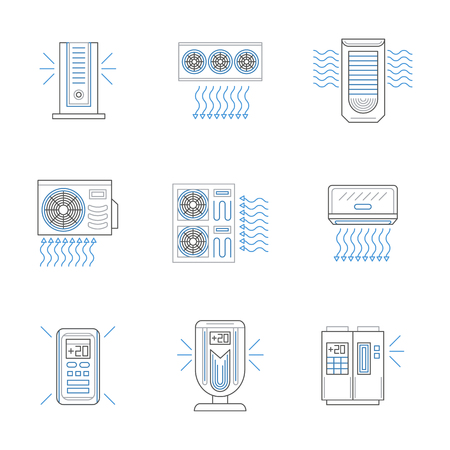 purification: Different types of air conditioners, compressors and air purification devices. Modern climatic equipment for home, office, storages. Set of black and blue flat line style vector icons.