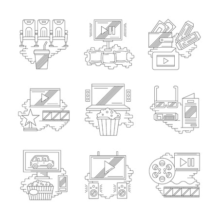 film production: Movie and cinema industry. Film production, premiere, cinema hall elements. Modern entertainments concept. Set of detailed flat line vector icons. Web design elements.