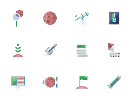 colonization: Cosmos exploration concept. Space and Universe. Future journeys and travels, expedition to Mars and Moon, colonization symbols. Set of colored flat style vector icons.