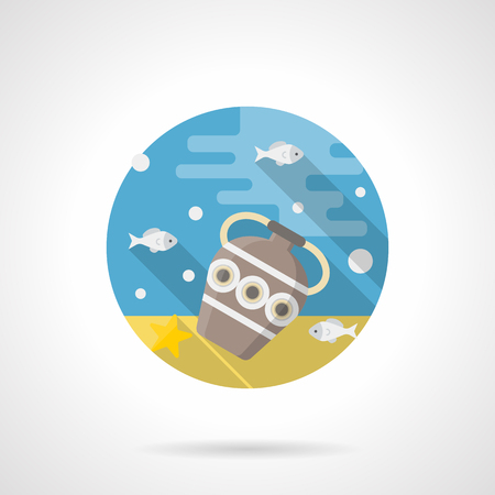 seabed: Gray antique vase or amphora with ornament on yellow sand seabed. Sea adventures, scuba diving to search for ancient artifacts. Round detailed flat color style vector icon.