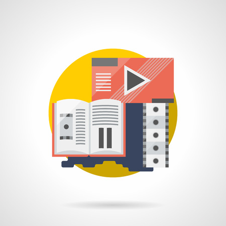 premiere: Abstract media player, filmstrip and brochure for cinema, theater, festival, premiere and others. Movie review symbol. Entertainment industry. Round detailed flat color style vector icon.